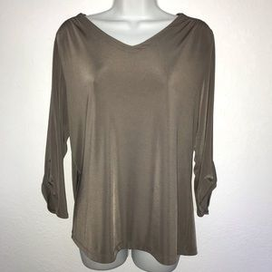 Chico's Easywear Taupe V neck Roll Sleeve Top 2 M